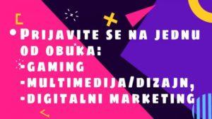 Javni poziv za besplatne obuke iz gaming-a, multimedije i digitalnog marketinga